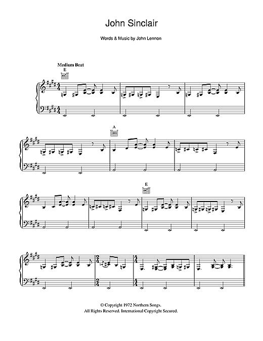 John Lennon John Sinclair sheet music notes and chords