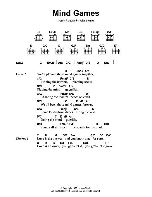 John Lennon Mind Games sheet music notes and chords. Download Printable PDF.