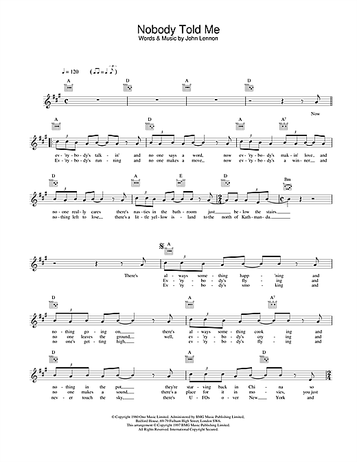 John Lennon Nobody Told Me sheet music notes and chords. Download Printable PDF.