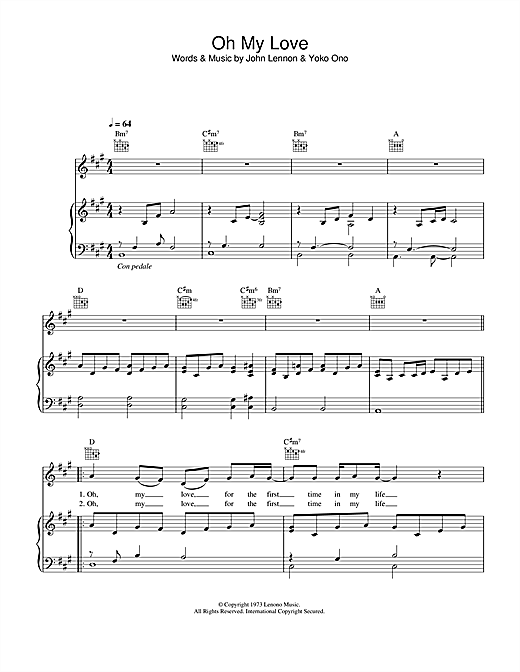 John Lennon Oh My Love sheet music notes and chords. Download Printable PDF.