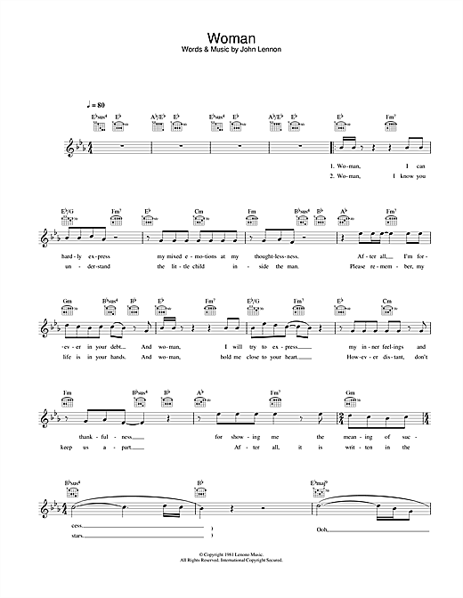 John Lennon Woman sheet music notes and chords. Download Printable PDF.