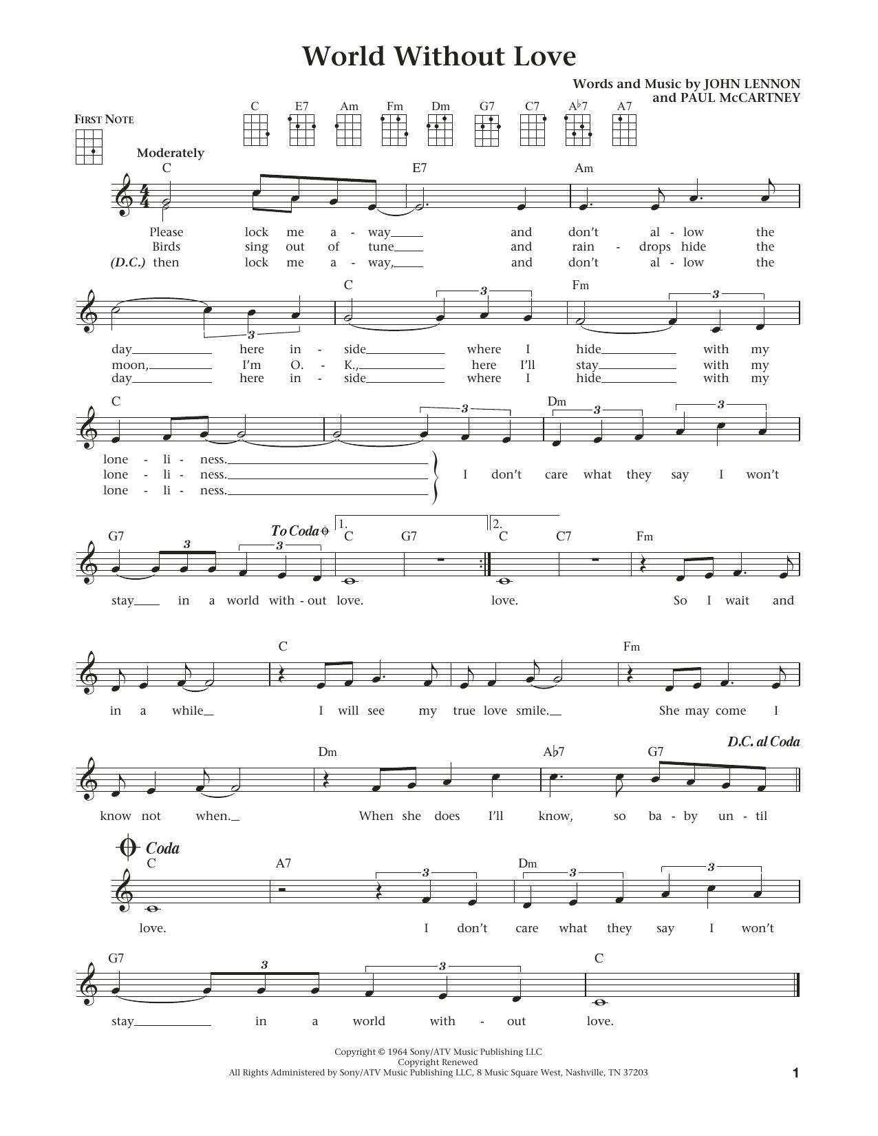John Lennon World Without Love From The Daily Ukulele Arr Liz And Jim Beloff Sheet Music Pdf Notes Chords Pop Score Ukulele Download Printable Sku 184072