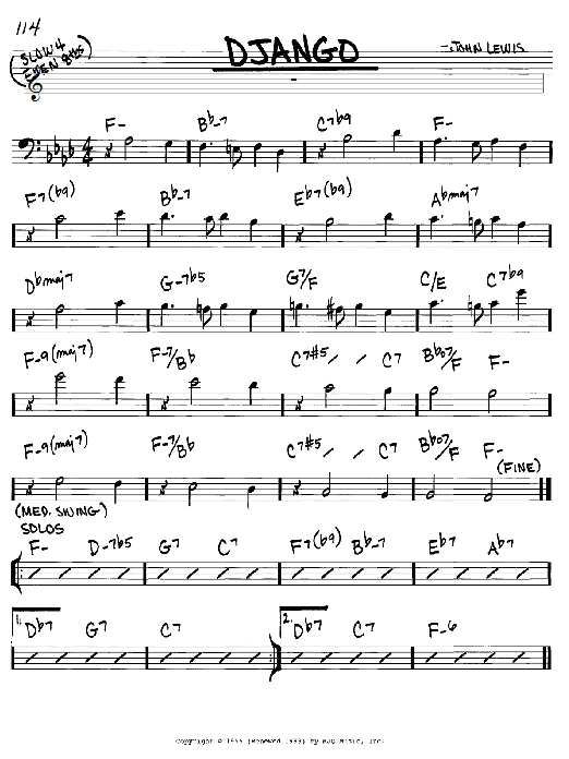 John Lewis Django sheet music notes and chords. Download Printable PDF.