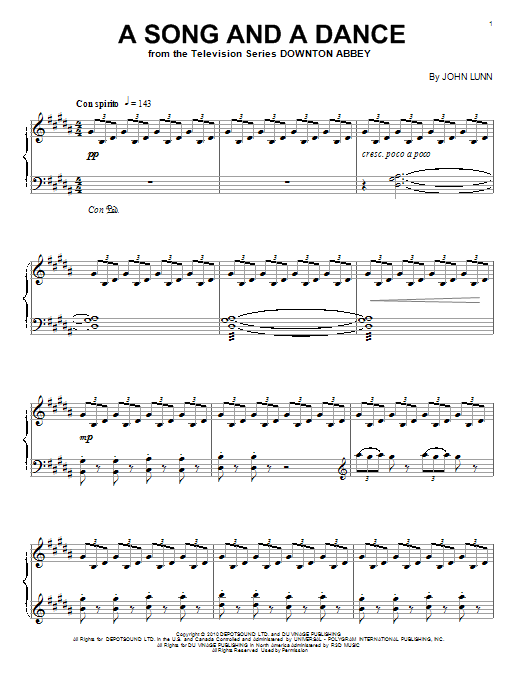 John Lunn A Song And A Dance sheet music notes and chords. Download Printable PDF.