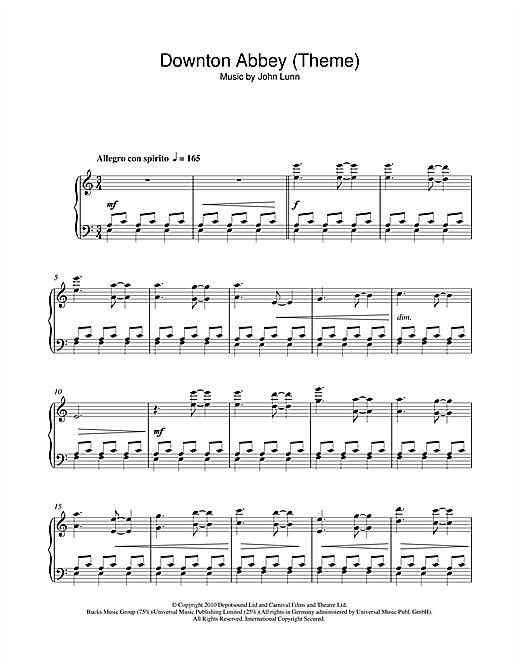 John Lunn Downton Abbey (Theme) sheet music notes and chords. Download Printable PDF.