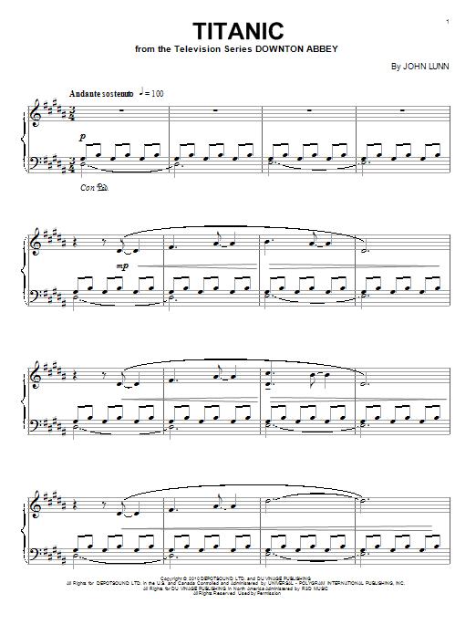 John Lunn Titanic sheet music notes and chords. Download Printable PDF.