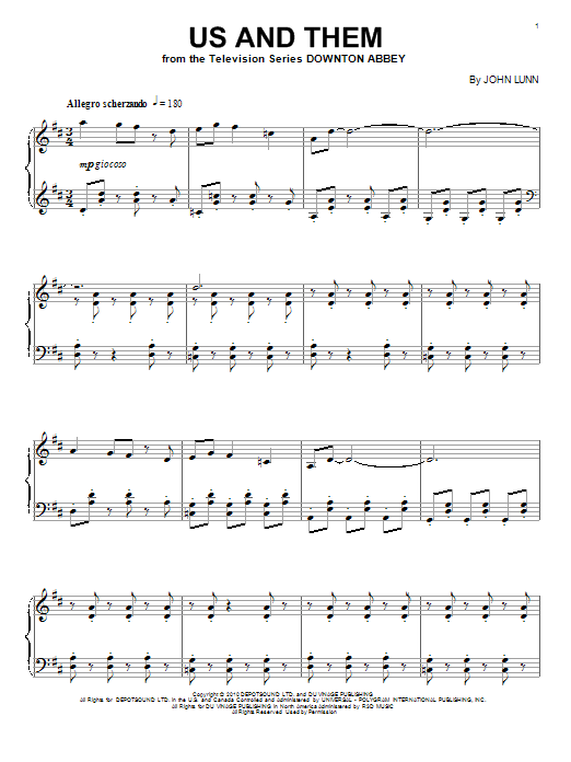 John Lunn Us And Them sheet music notes and chords. Download Printable PDF.