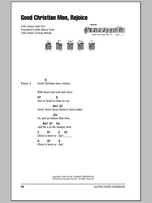 John Mason Neale Good Christian Men, Rejoice sheet music notes and chords. Download Printable PDF.