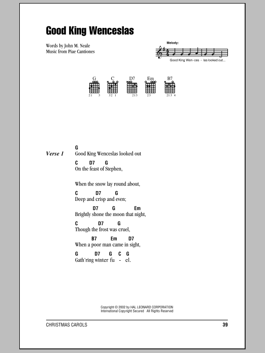 Christmas Carol Good King Wenceslas sheet music notes and chords. Download Printable PDF.