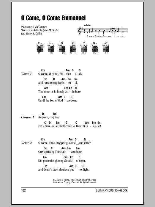 John M. Neale O Come, O Come Immanuel sheet music notes and chords. Download Printable PDF.