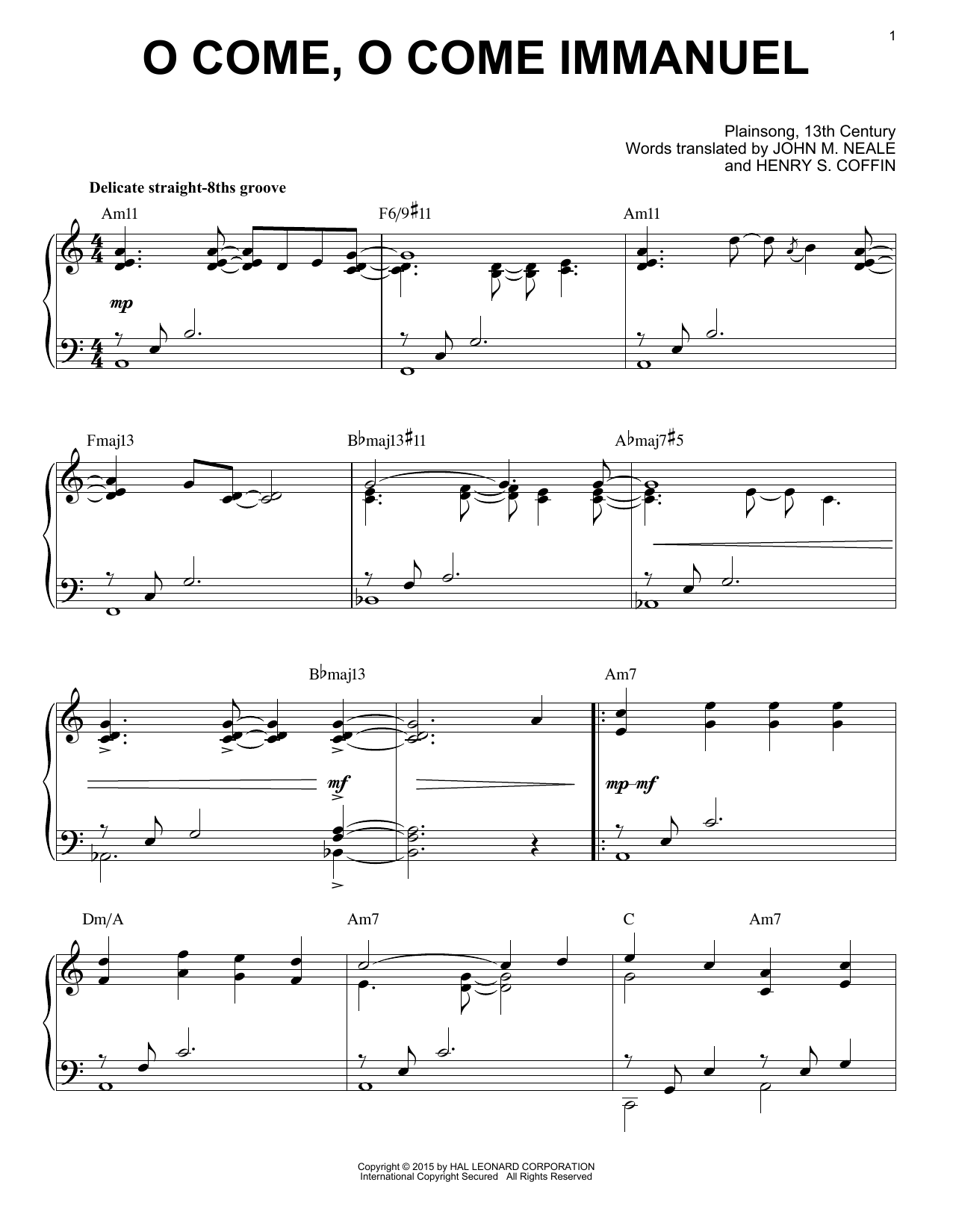 John M. Neale (v. 1,2) O Come, O Come Immanuel [Jazz version] (arr. Brent Edstrom) sheet music notes and chords. Download Printable PDF.