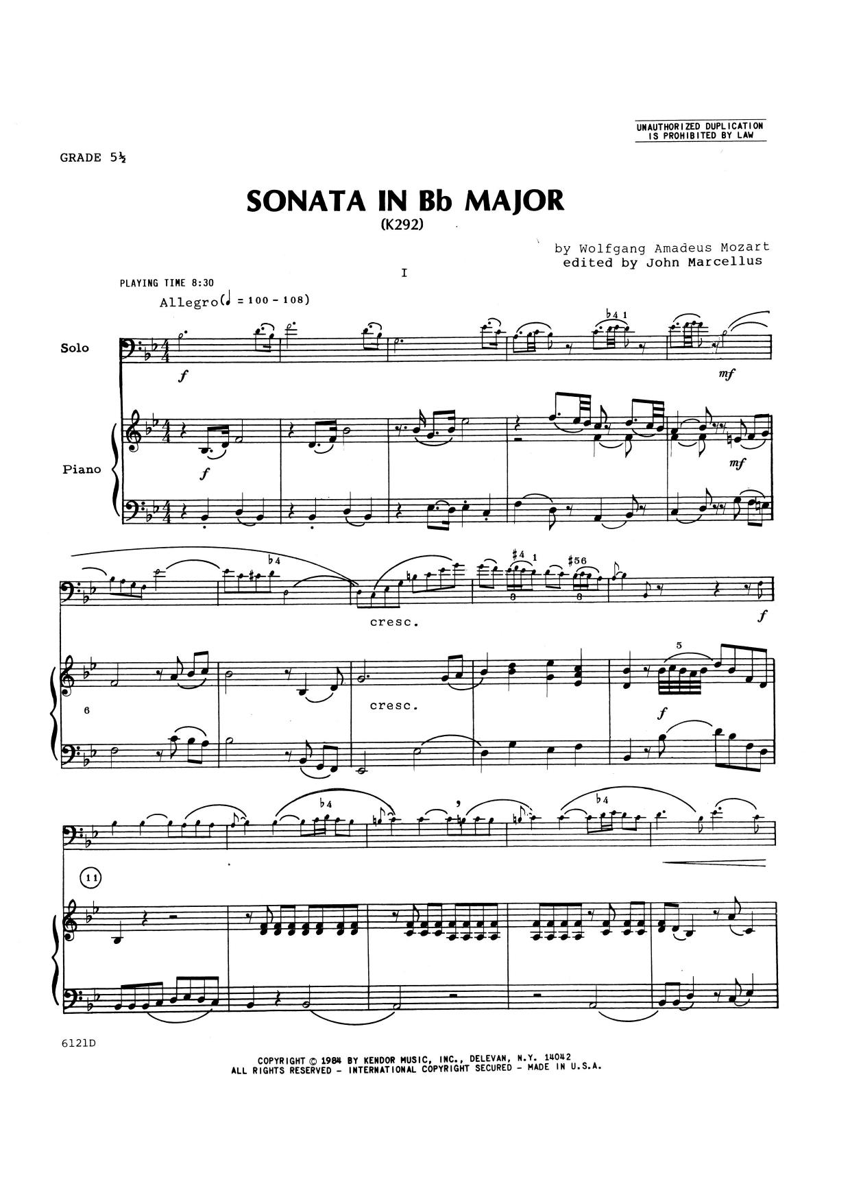 John Marcellus Sonata In Bb Major (K292) - Piano Accompaniment sheet music notes and chords. Download Printable PDF.