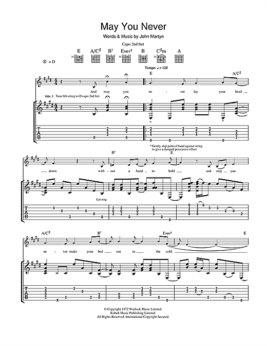 John Martyn May You Never sheet music notes and chords. Download Printable PDF.