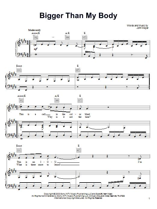 John Mayer Bigger Than My Body sheet music notes and chords. Download Printable PDF.