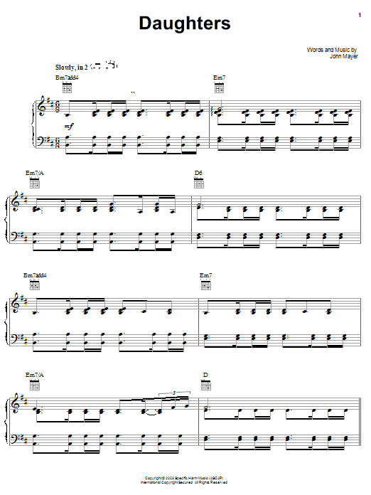 John Mayer Daughters sheet music notes and chords. Download Printable PDF.