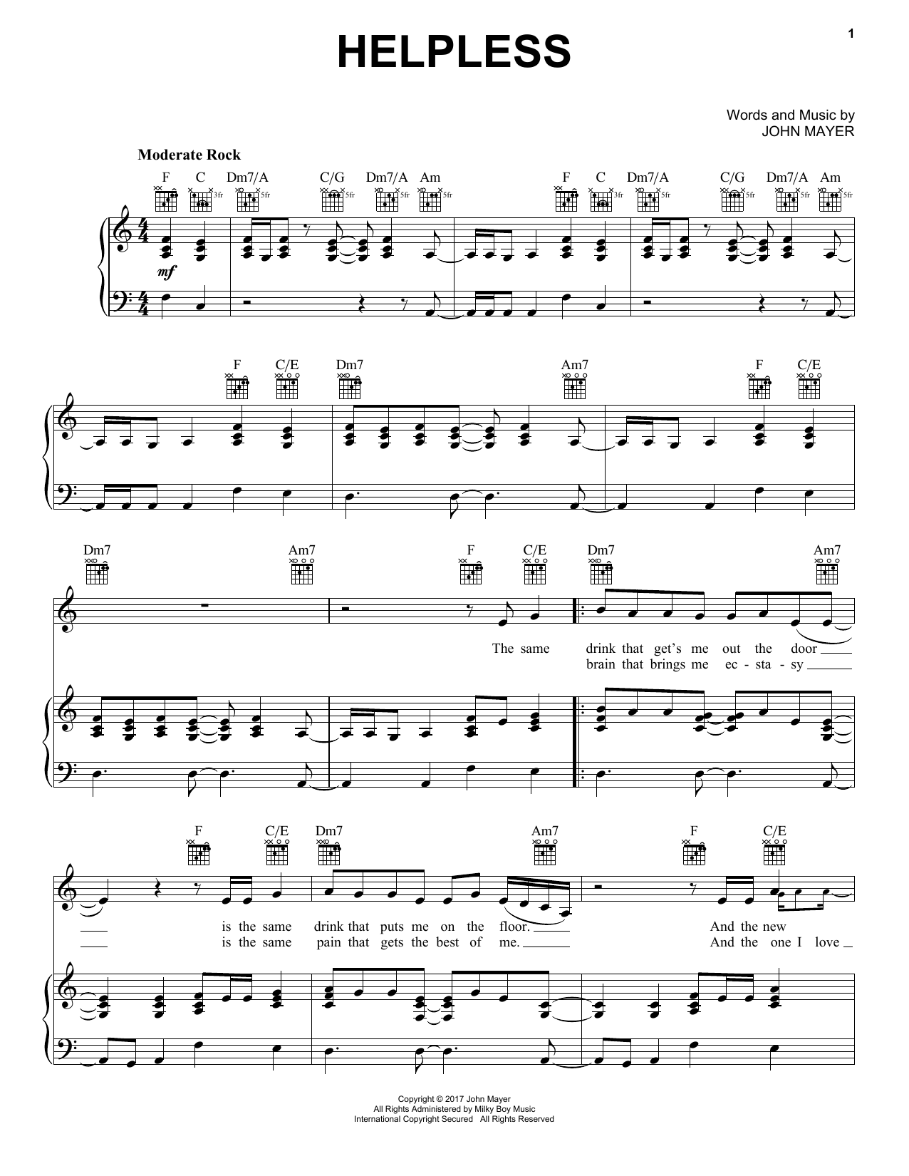 John Mayer Helpless sheet music notes and chords