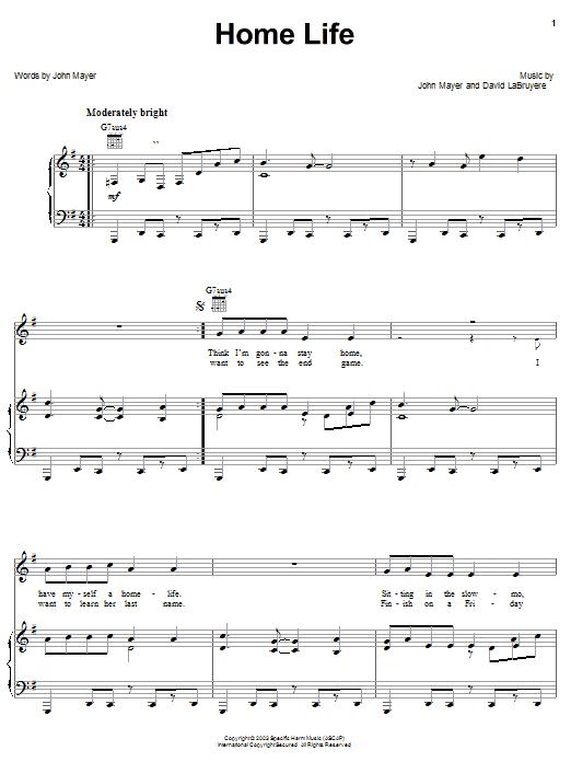 John Mayer Home Life sheet music notes and chords. Download Printable PDF.