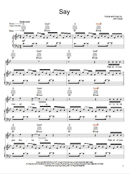 John Mayer Say sheet music notes and chords. Download Printable PDF.