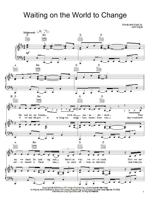 John Mayer Waiting On The World To Change sheet music notes and chords. Download Printable PDF.