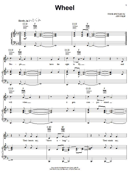 John Mayer Wheel sheet music notes and chords. Download Printable PDF.