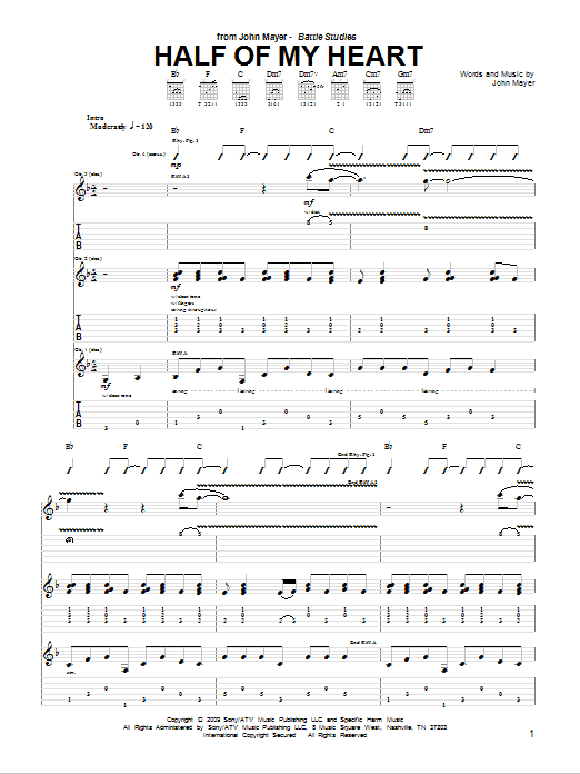 John Mayer featuring Taylor Swift Half Of My Heart sheet music notes and chords. Download Printable PDF.
