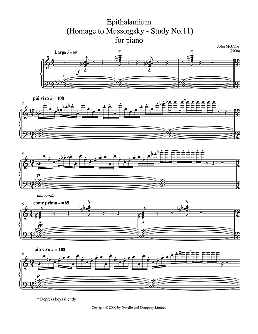 John McCabe Epithalamium (Homage To Mussorgsky - Study No.11) For Piano sheet music notes and chords. Download Printable PDF.
