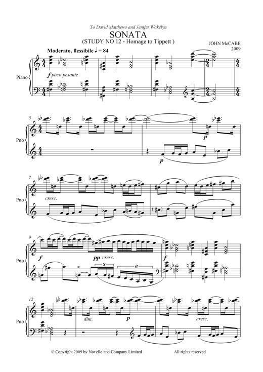 John McCabe Sonata (Study No. 12) sheet music notes and chords. Download Printable PDF.