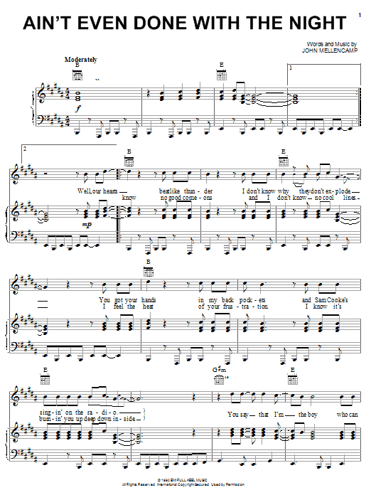 John Mellencamp Ain't Even Done With The Night sheet music notes and chords