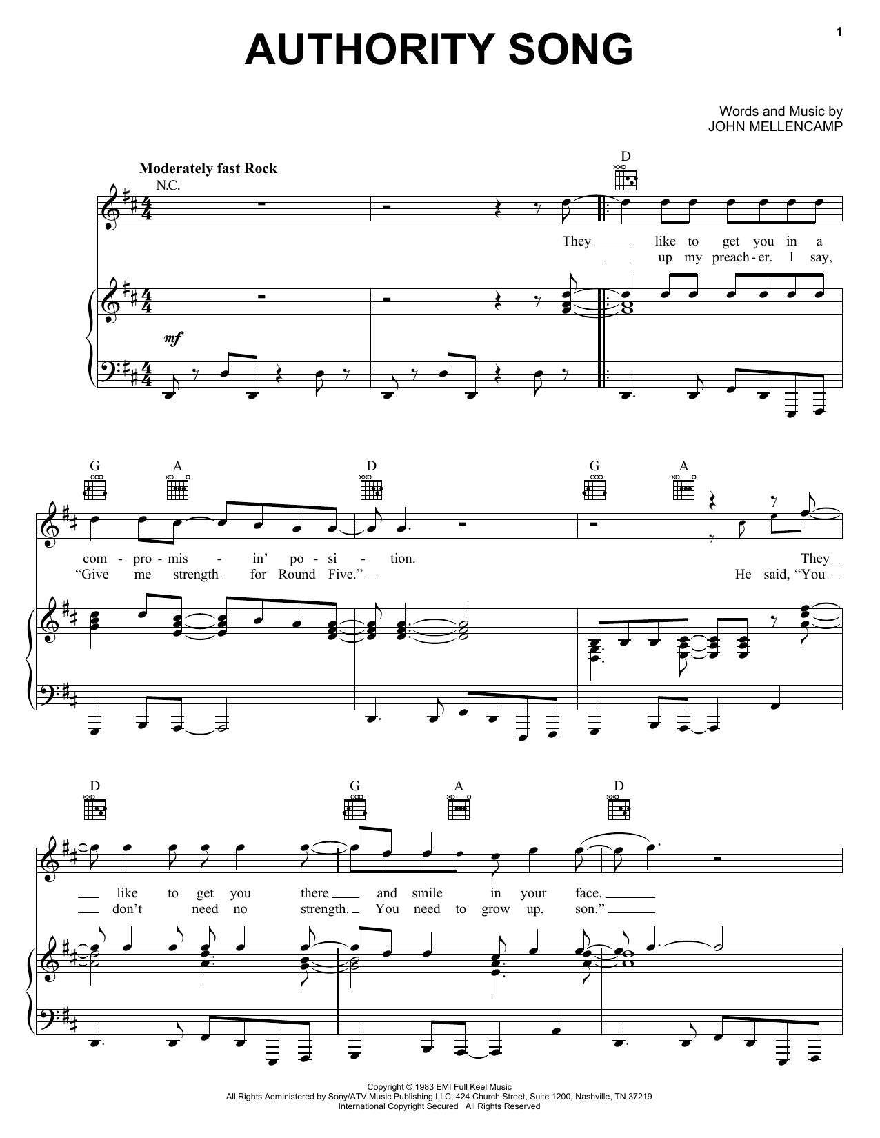 John Mellencamp Authority Song sheet music notes and chords. Download Printable PDF.
