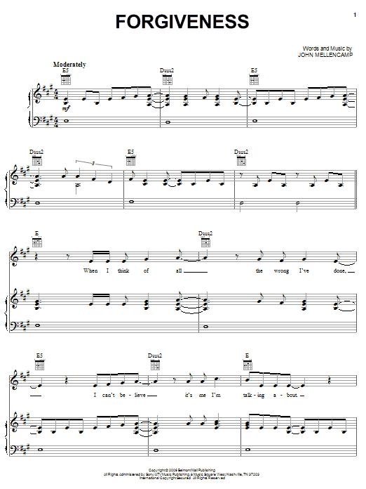 John Mellencamp Forgiveness sheet music notes and chords. Download Printable PDF.