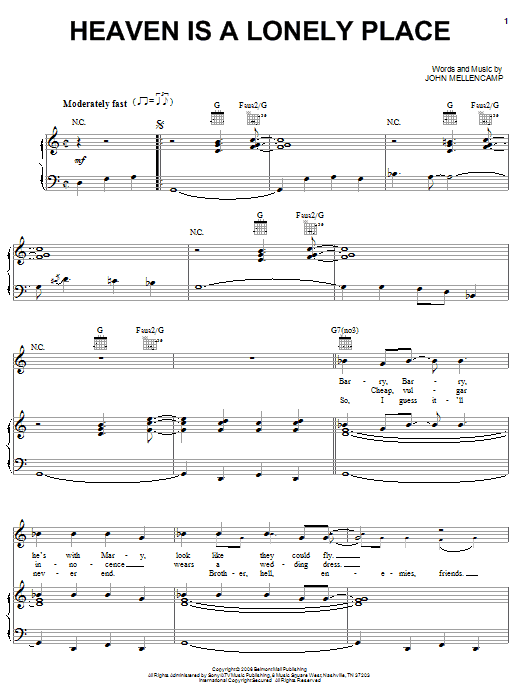John Mellencamp Heaven Is A Lonely Place sheet music notes and chords. Download Printable PDF.