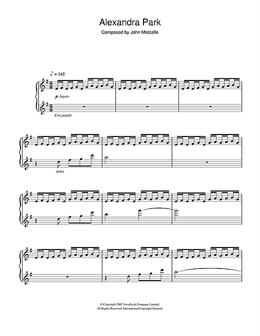 John Metcalfe Alexandra Park sheet music notes and chords. Download Printable PDF.