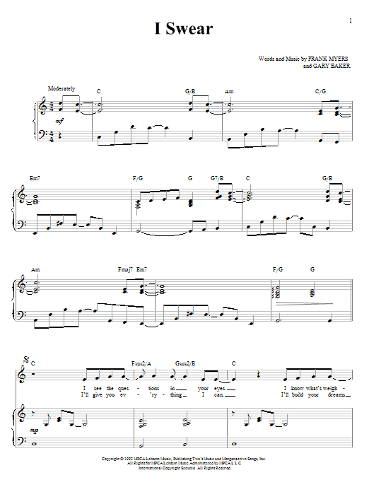 John Michael Montgomery I Swear sheet music notes and chords. Download Printable PDF.