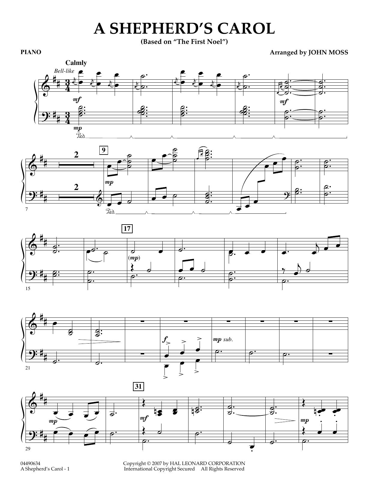 John Moss A Shepherd's Carol - Percussion 1 sheet music notes and chords. Download Printable PDF.