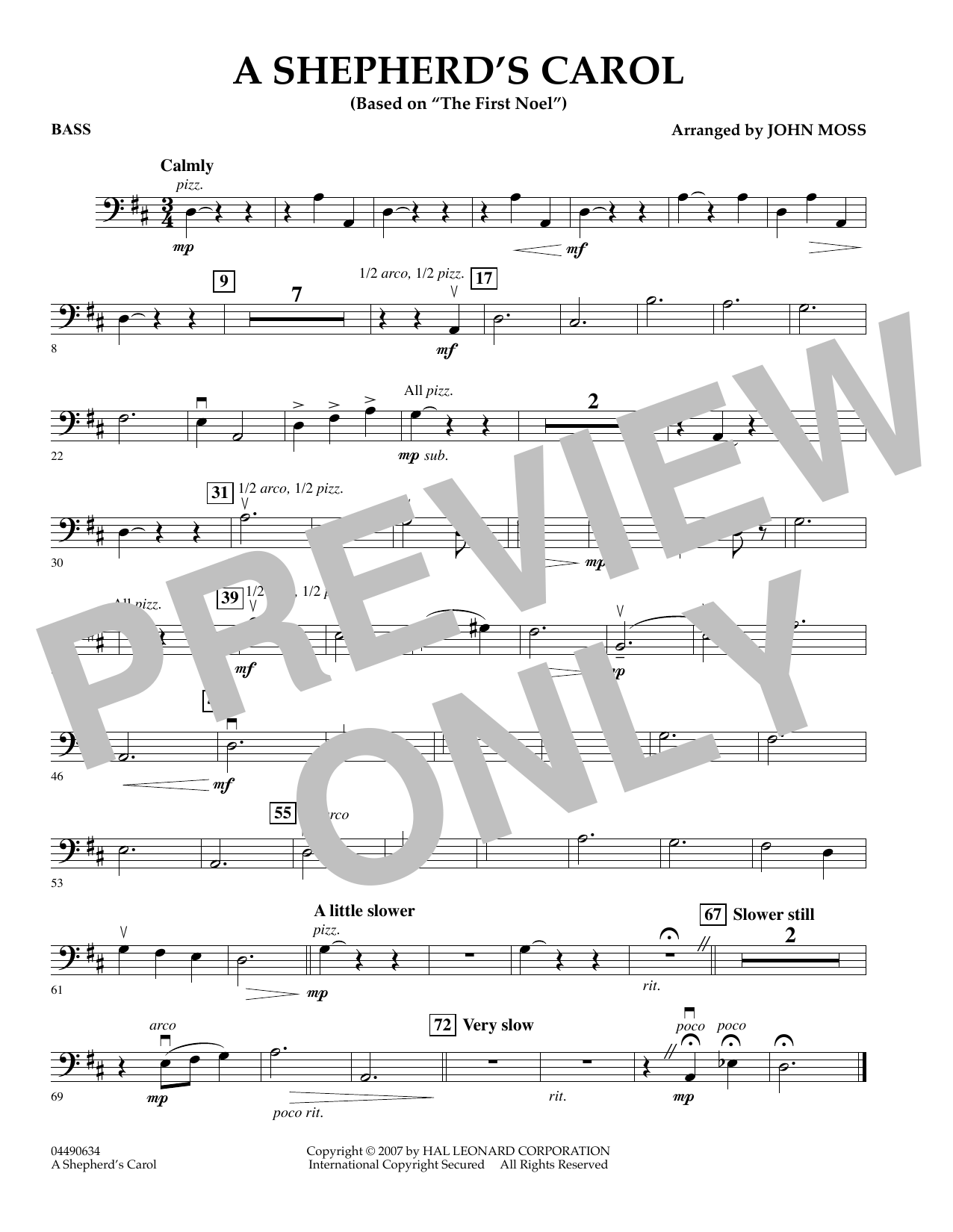 John Moss A Shepherd's Carol - String Bass sheet music notes and chords. Download Printable PDF.
