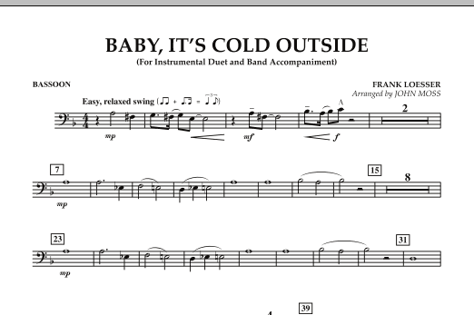 John Moss Baby, It's Cold Outside - Bassoon sheet music notes and chords