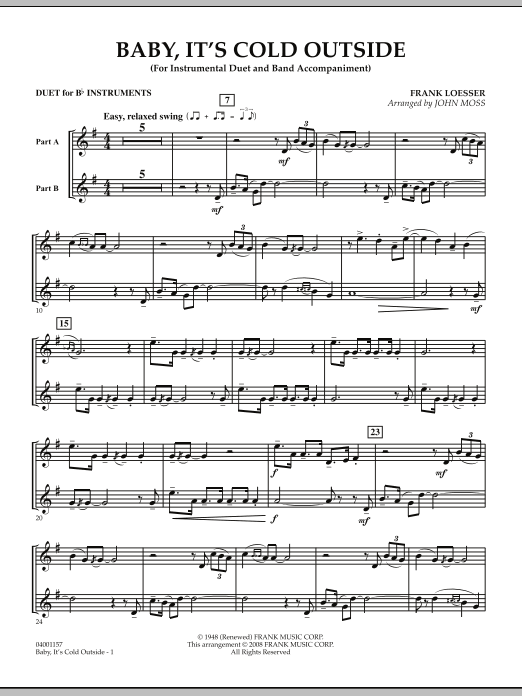 John Moss Baby, It's Cold Outside - Duet in Bb sheet music notes and chords. Download Printable PDF.