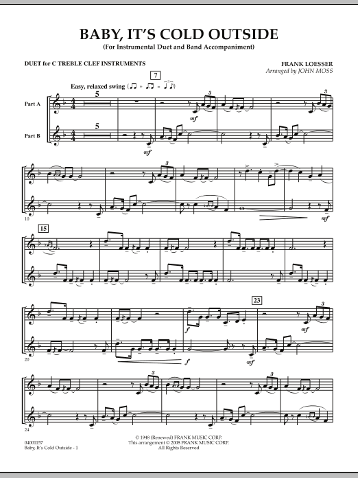 John Moss Baby, It's Cold Outside - Duet in C Treble Clef sheet music notes and chords. Download Printable PDF.