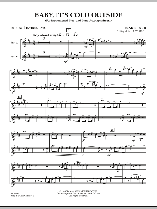 John Moss Baby, It's Cold Outside - Duet in Eb sheet music notes and chords. Download Printable PDF.