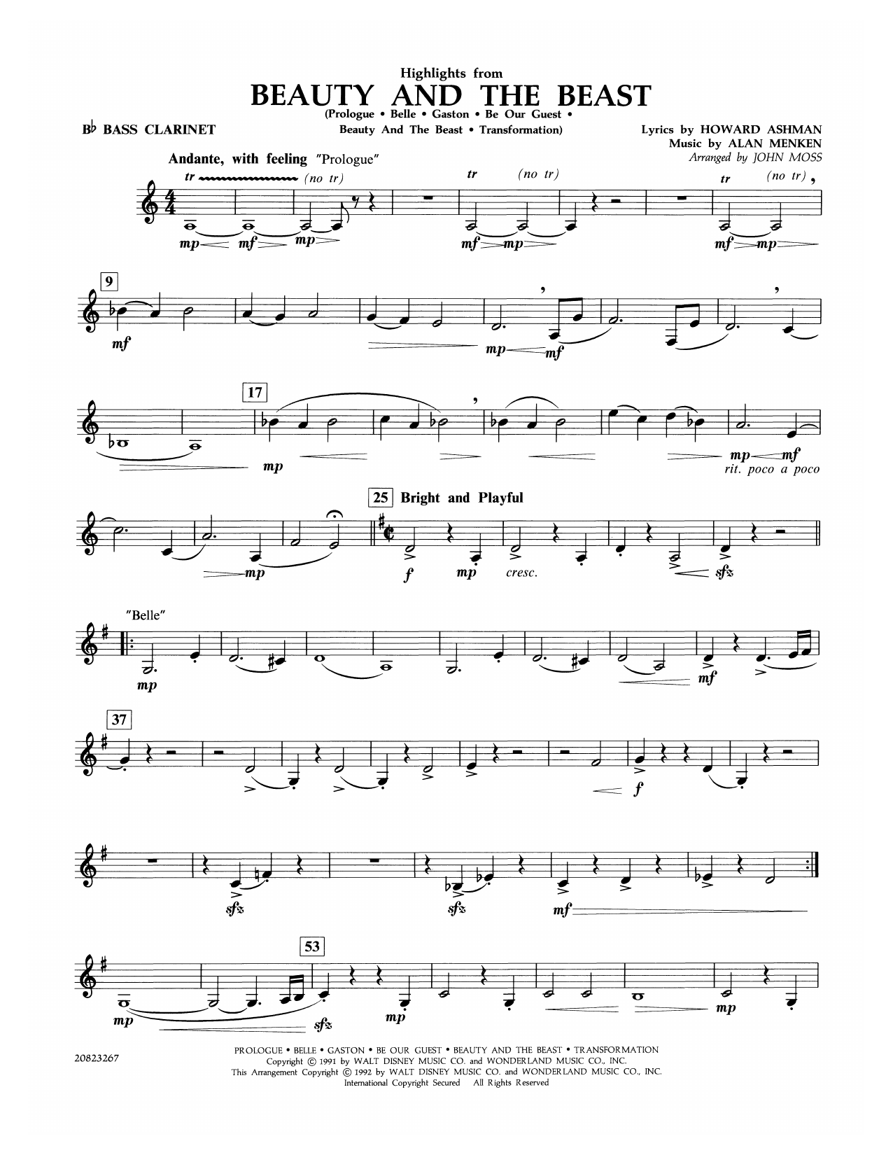 John Moss Highlights from Beauty and the Beast - Bb Bass Clarinet sheet music notes and chords. Download Printable PDF.