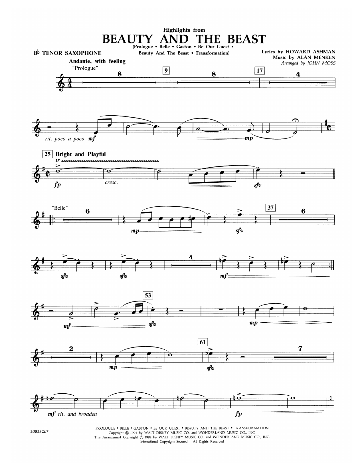 John Moss Highlights from Beauty and the Beast - Bb Tenor Saxophone sheet music notes and chords. Download Printable PDF.
