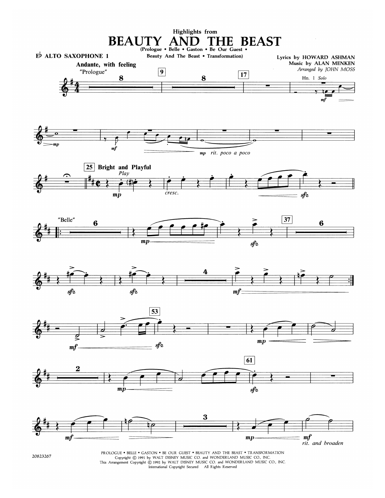 John Moss Highlights from Beauty and the Beast - Eb Alto Saxophone 1 sheet music notes and chords. Download Printable PDF.