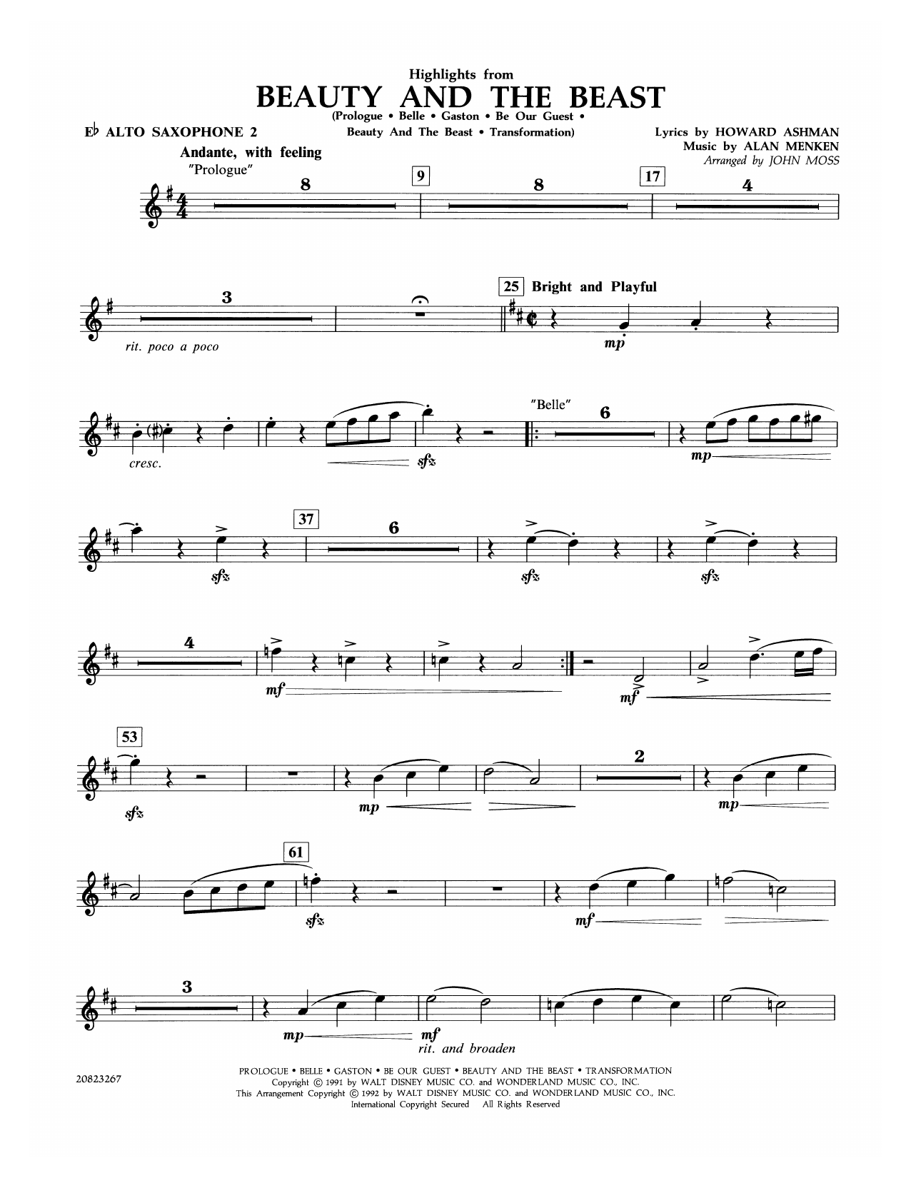 John Moss Highlights from Beauty and the Beast - Eb Alto Saxophone 2 sheet music notes and chords. Download Printable PDF.