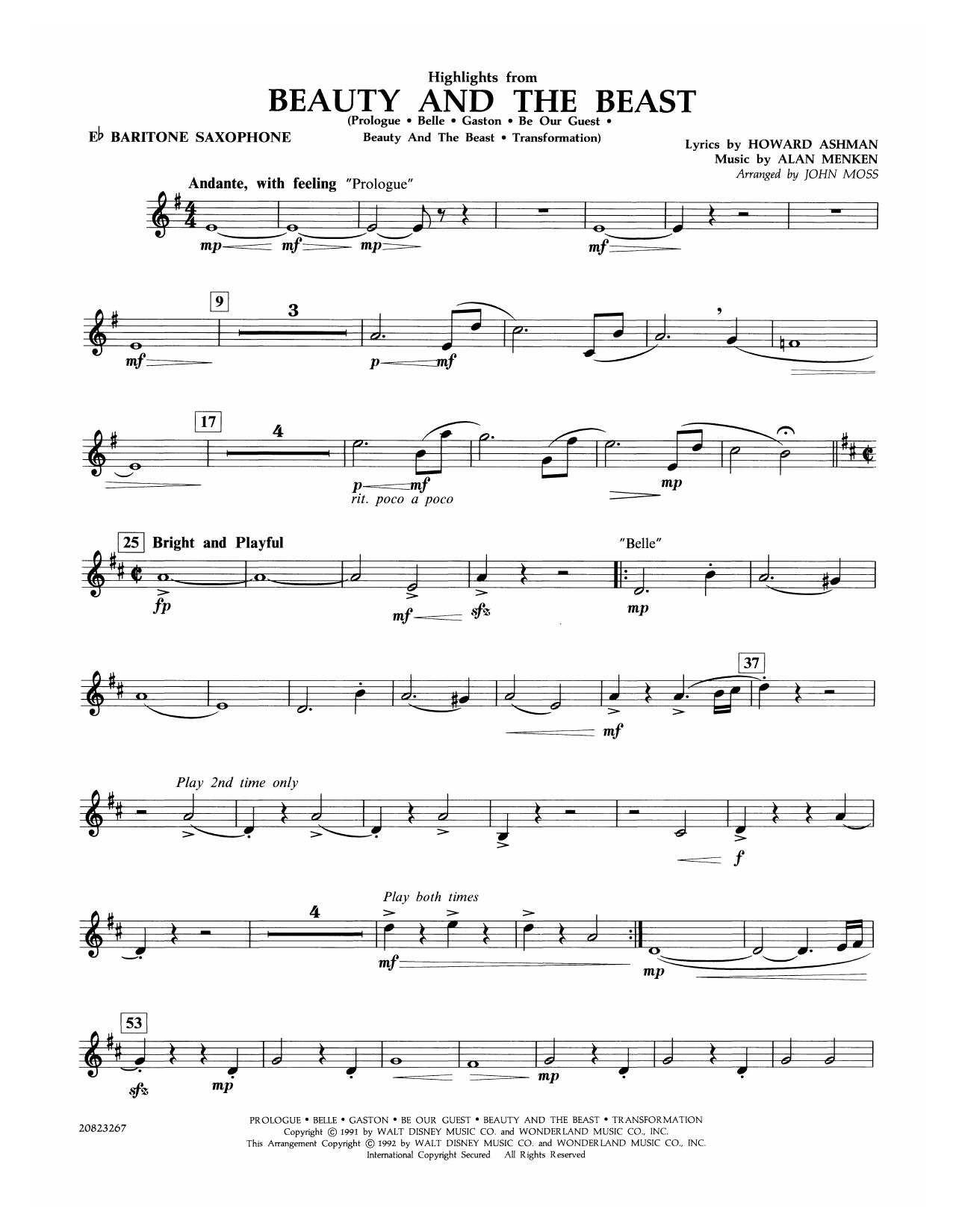 John Moss Highlights from Beauty and the Beast - Eb Baritone Saxophone sheet music notes and chords. Download Printable PDF.