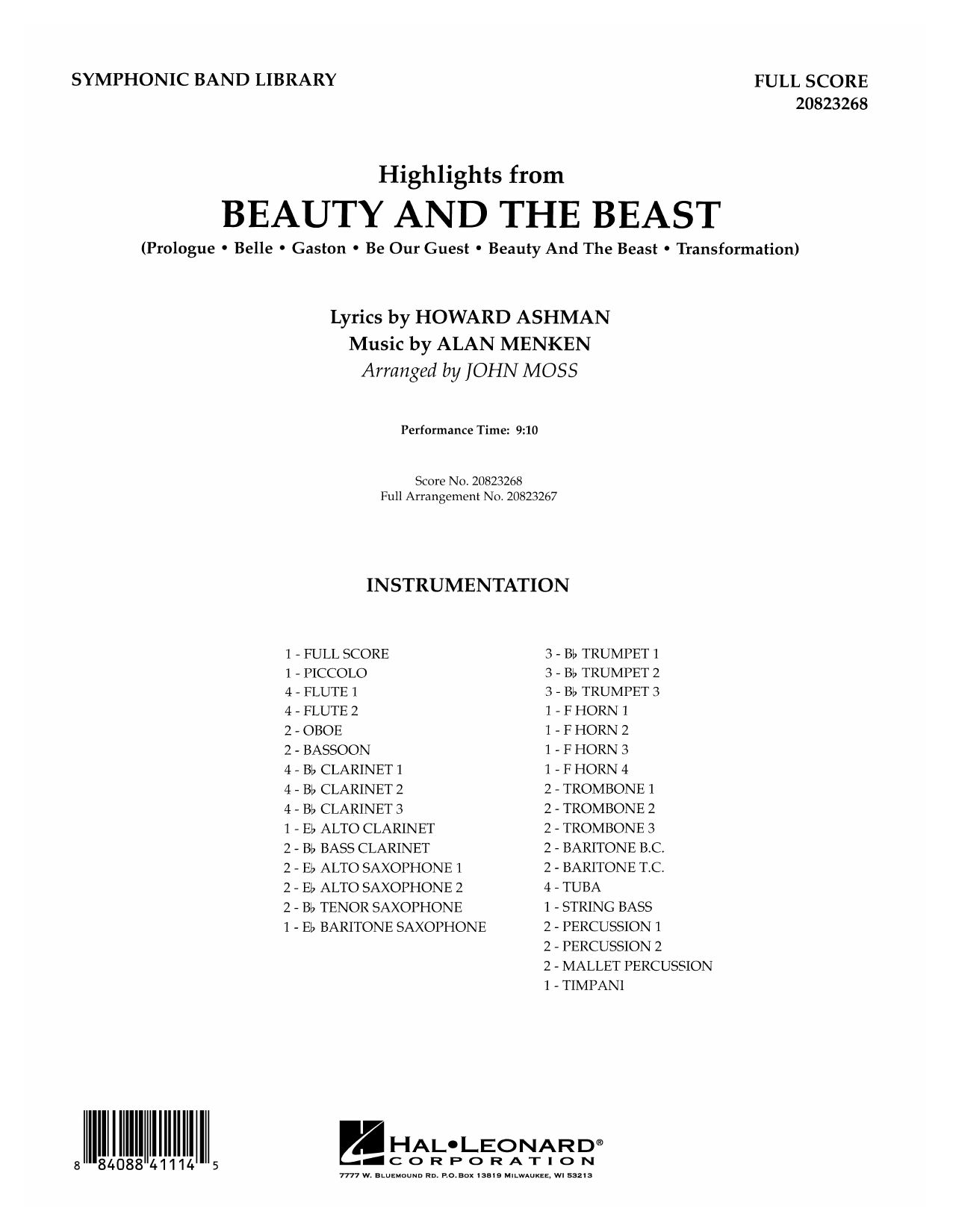 John Moss Highlights from Beauty and the Beast - Full Score sheet music notes and chords. Download Printable PDF.