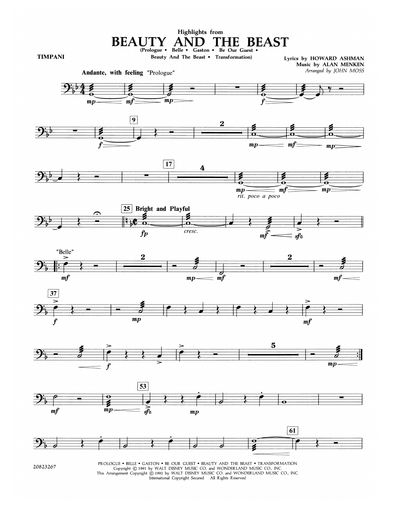 John Moss Highlights from Beauty and the Beast - Timpani sheet music notes and chords. Download Printable PDF.
