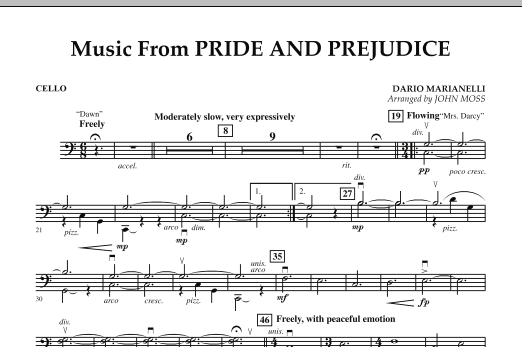 John Moss Music from Pride & Prejudice - Cello sheet music notes and chords. Download Printable PDF.