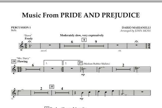 John Moss Music from Pride & Prejudice - Percussion 1 sheet music notes and chords. Download Printable PDF.