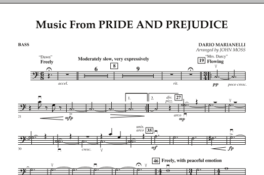 John Moss Music from Pride & Prejudice - String Bass sheet music notes and chords. Download Printable PDF.