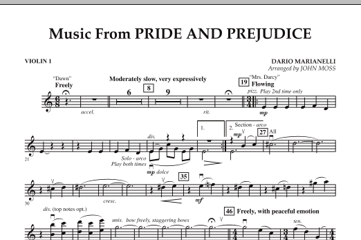 John Moss Music from Pride & Prejudice - Violin 1 sheet music notes and chords. Download Printable PDF.